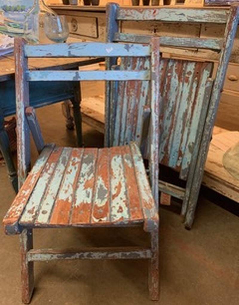 Pair of Painted Folding Chairs