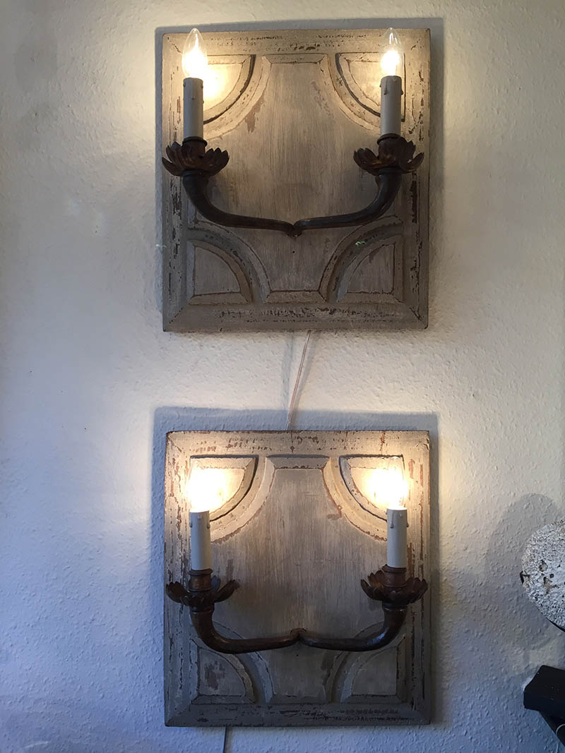 Pair of Painted Sconces