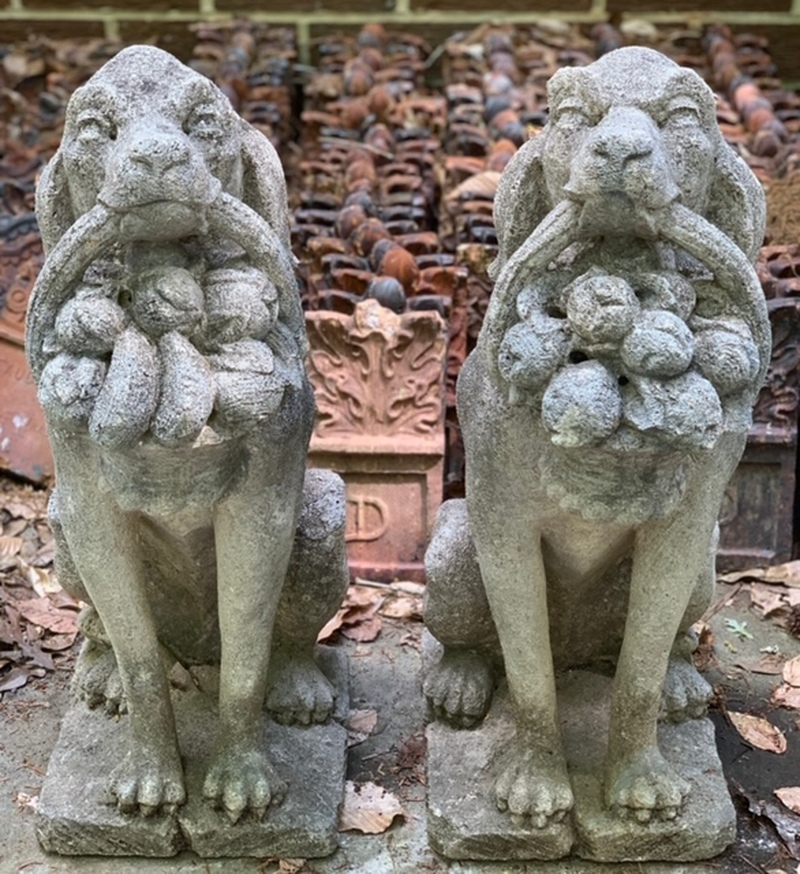 True Pair of Cast Stone Dogs