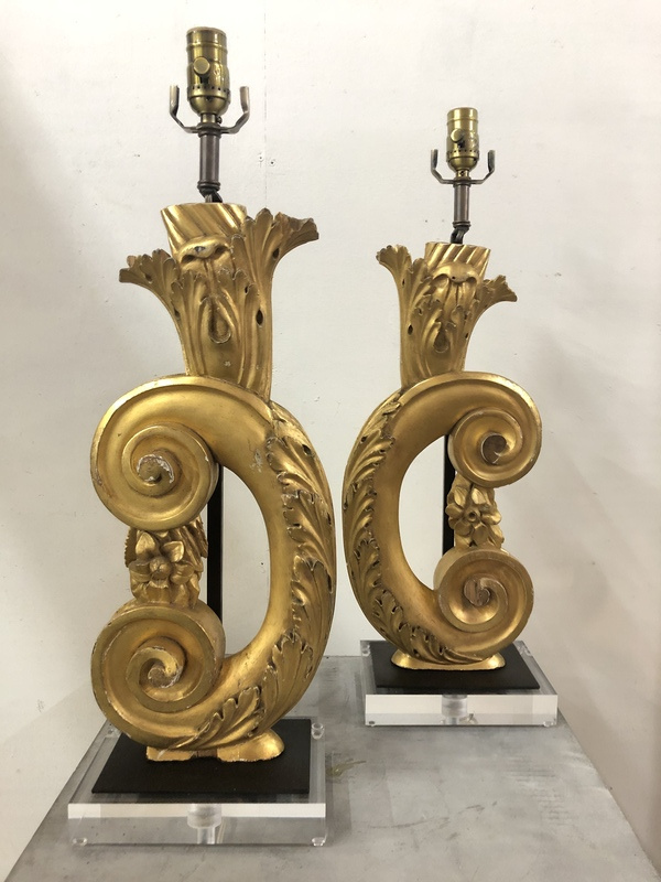 Pair of gold fragment lamps on lucite