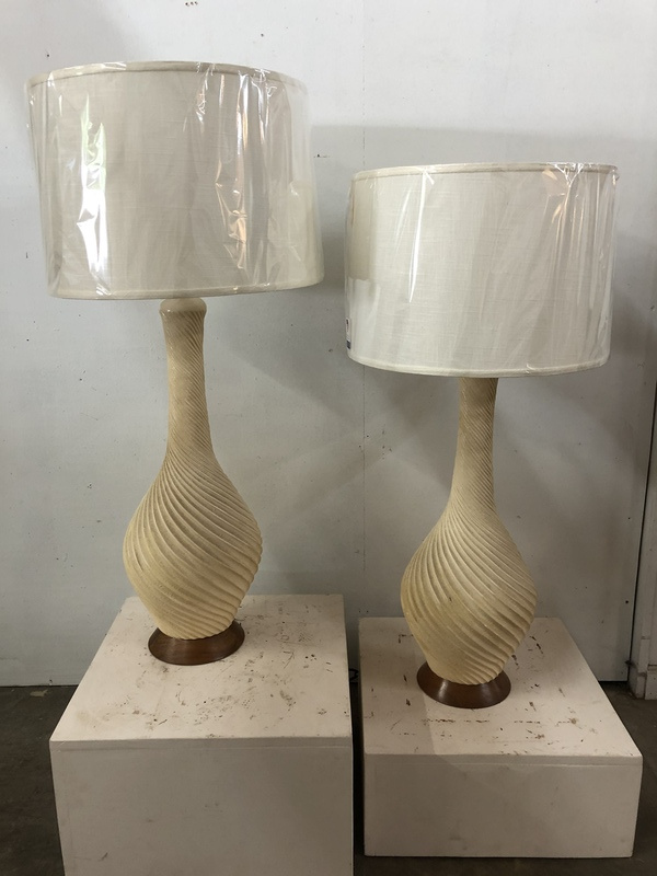 1950's cream swirl lamps