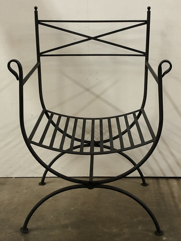 Pair of  iron Italian arm chairs