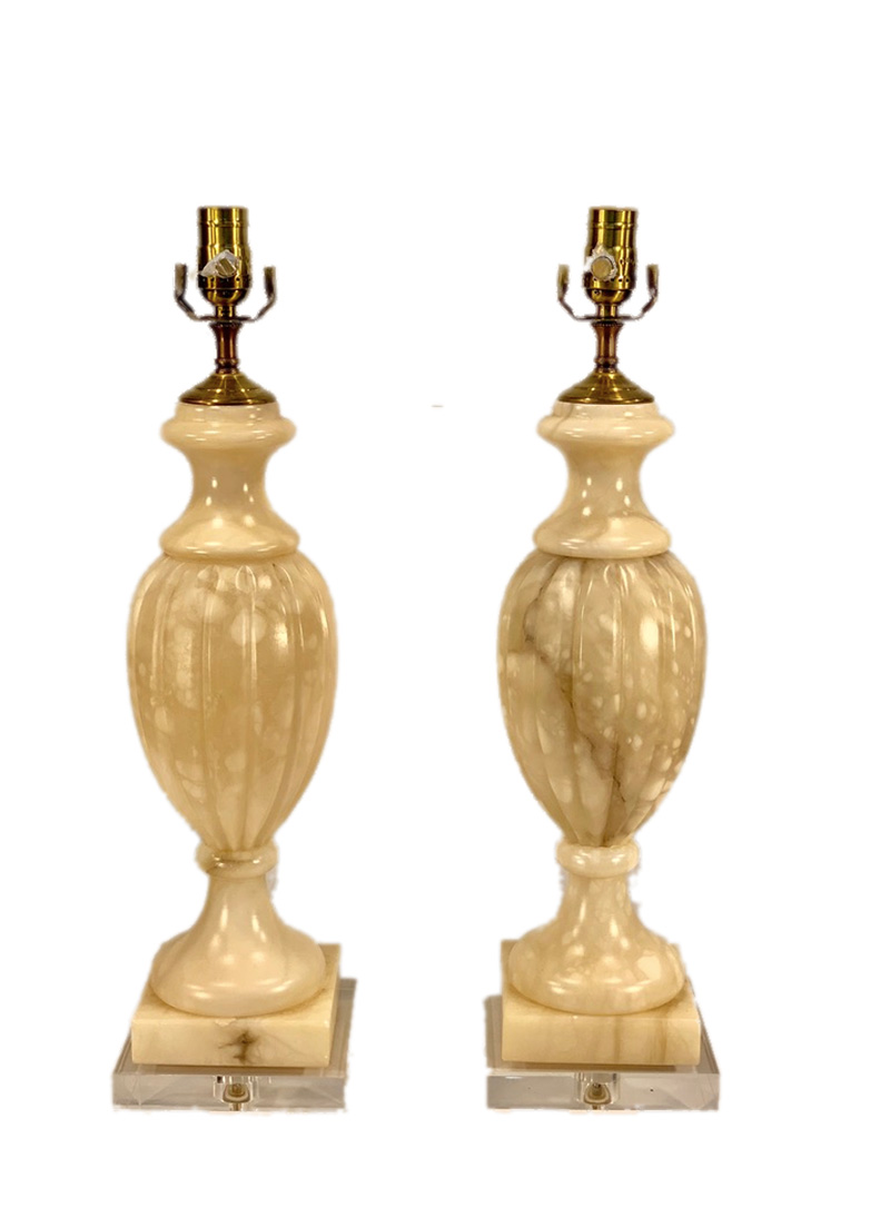 20th c. French Albaster Lamps