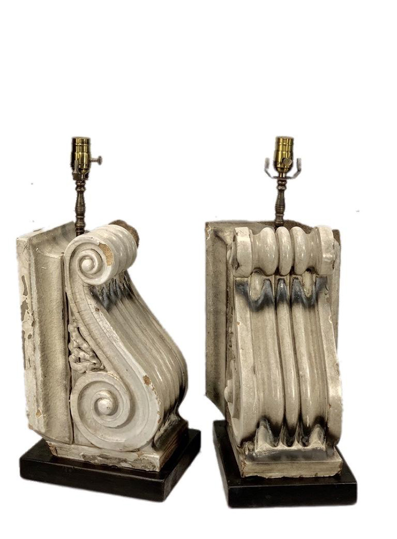 French Terra Cotta Corbel Lamps