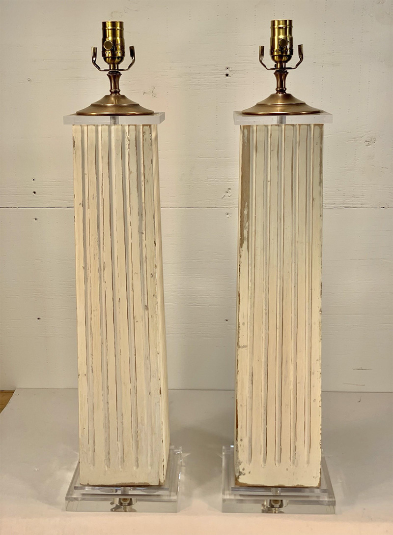 White Distressed Square Fluted Lamps