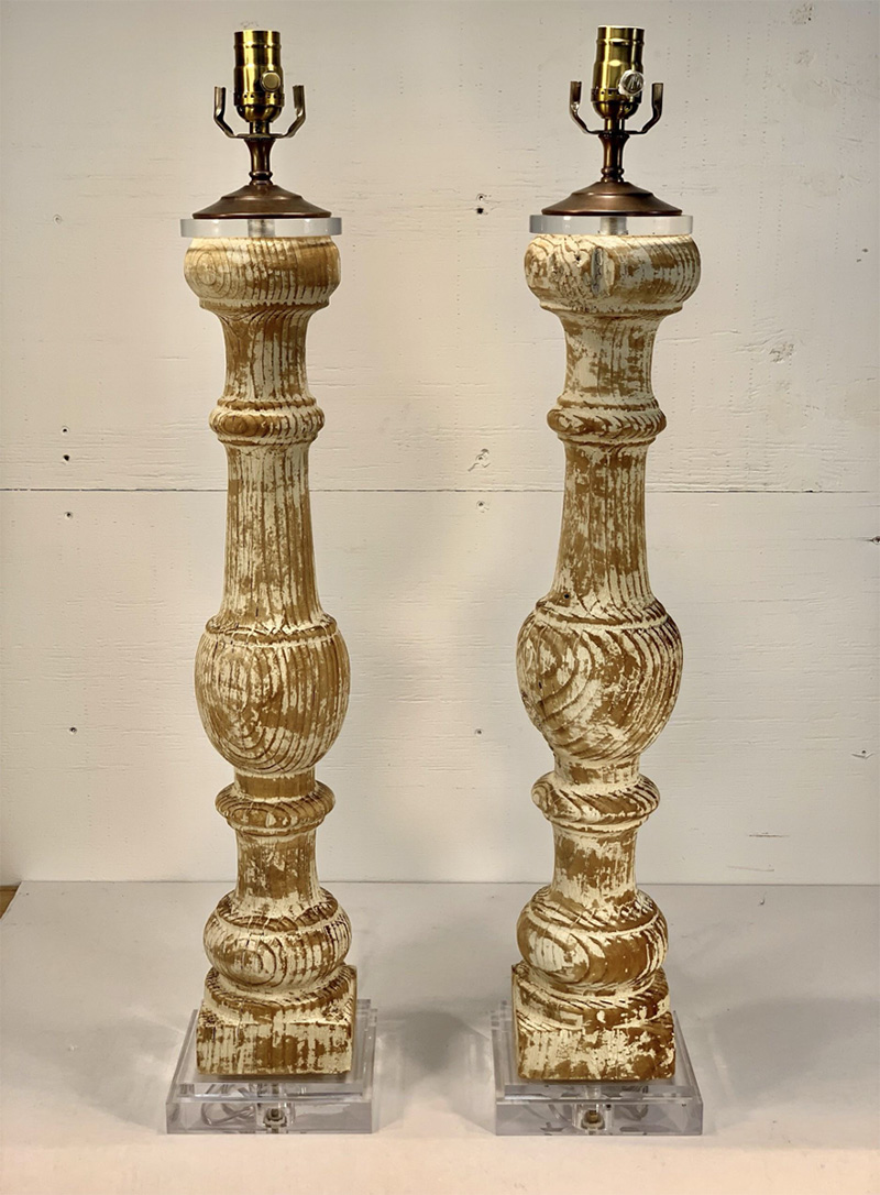 French White Distressed Baluster Lamps