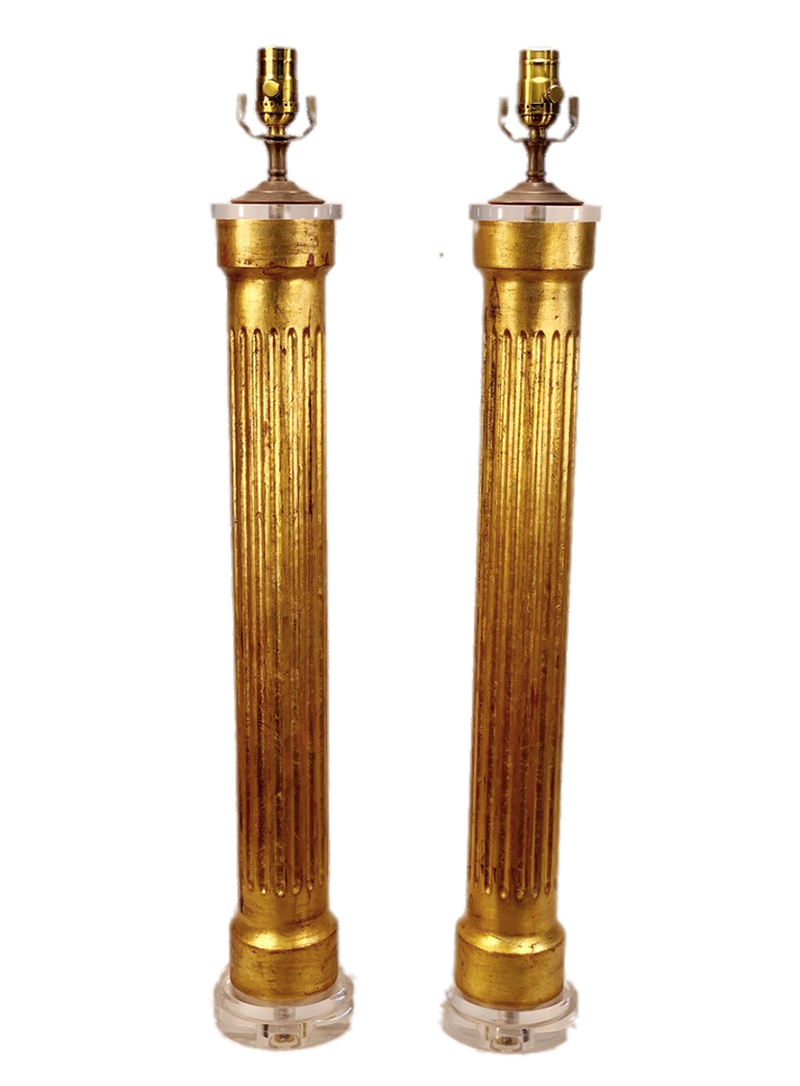 20th c. Italian Gold Leaf Fluted Column Lamps