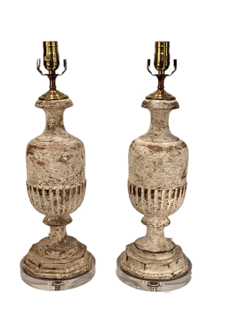 French Distressed Baluster Lamps