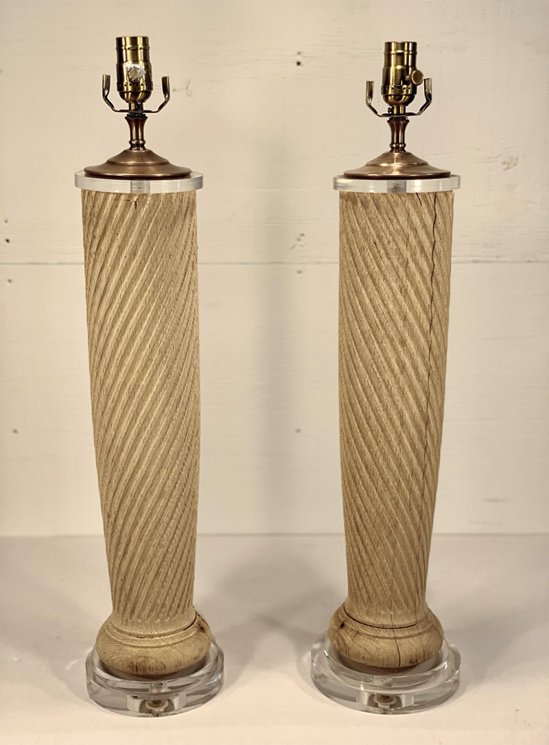 Vintage Bleached Oak Twist Column Lamps on Lucite base