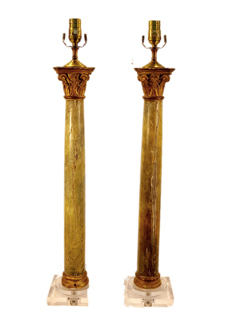 19th c. Italian Faux Painted Marble Column Lamps