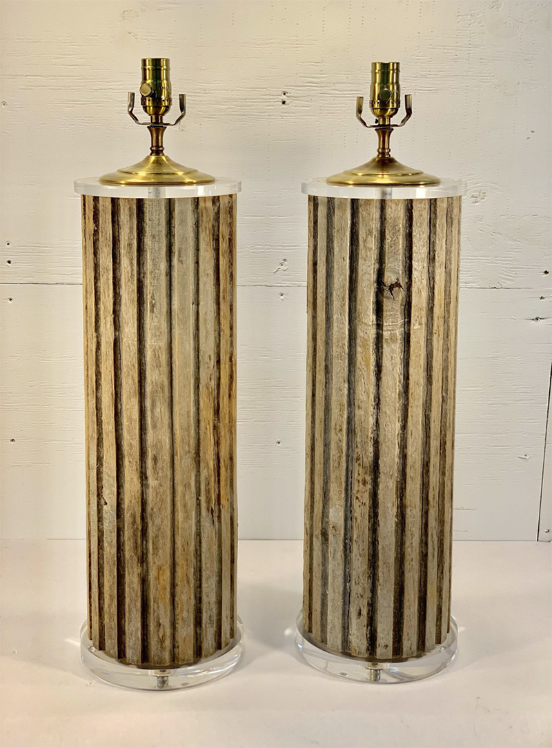 Pair of Vintage Wood Fluted Columns Lamps on Lucite base