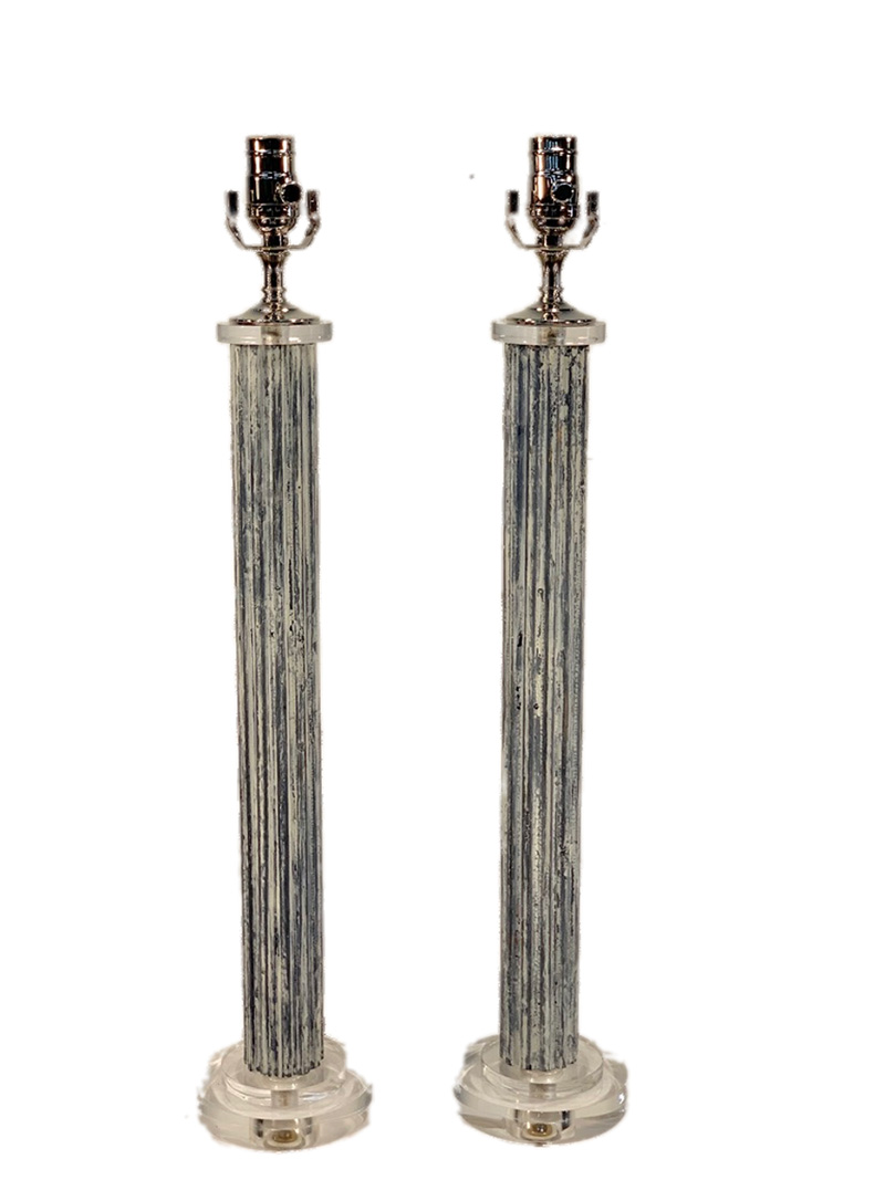 Pair of Vintage Blue and White Fluted Column Lamps on Lucite base