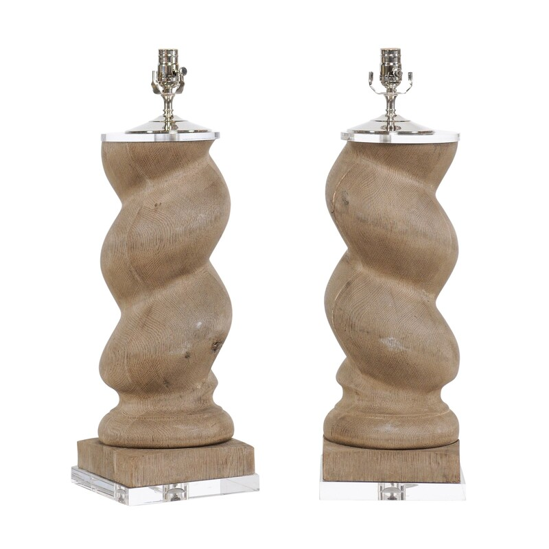 19th c. French Carved Wooden Spiral Column lamps