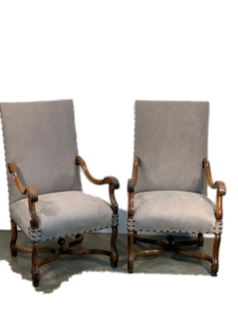 19th c. Pair of French High Back , Grey Chairs Upholstered in Libeco Linen