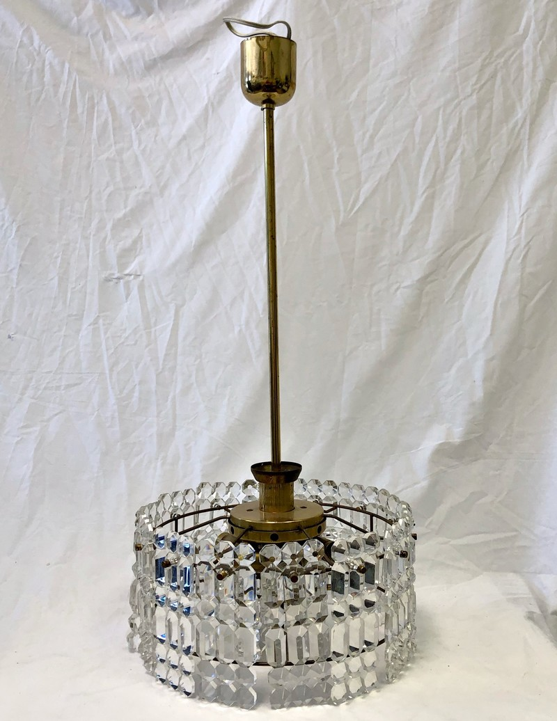 Lobrueyr Brass and Cut Glass Chandelier