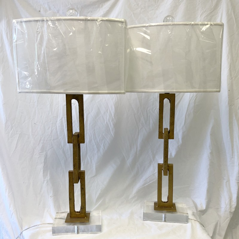 Antique Rectangular Chain Lamps on Acrylic