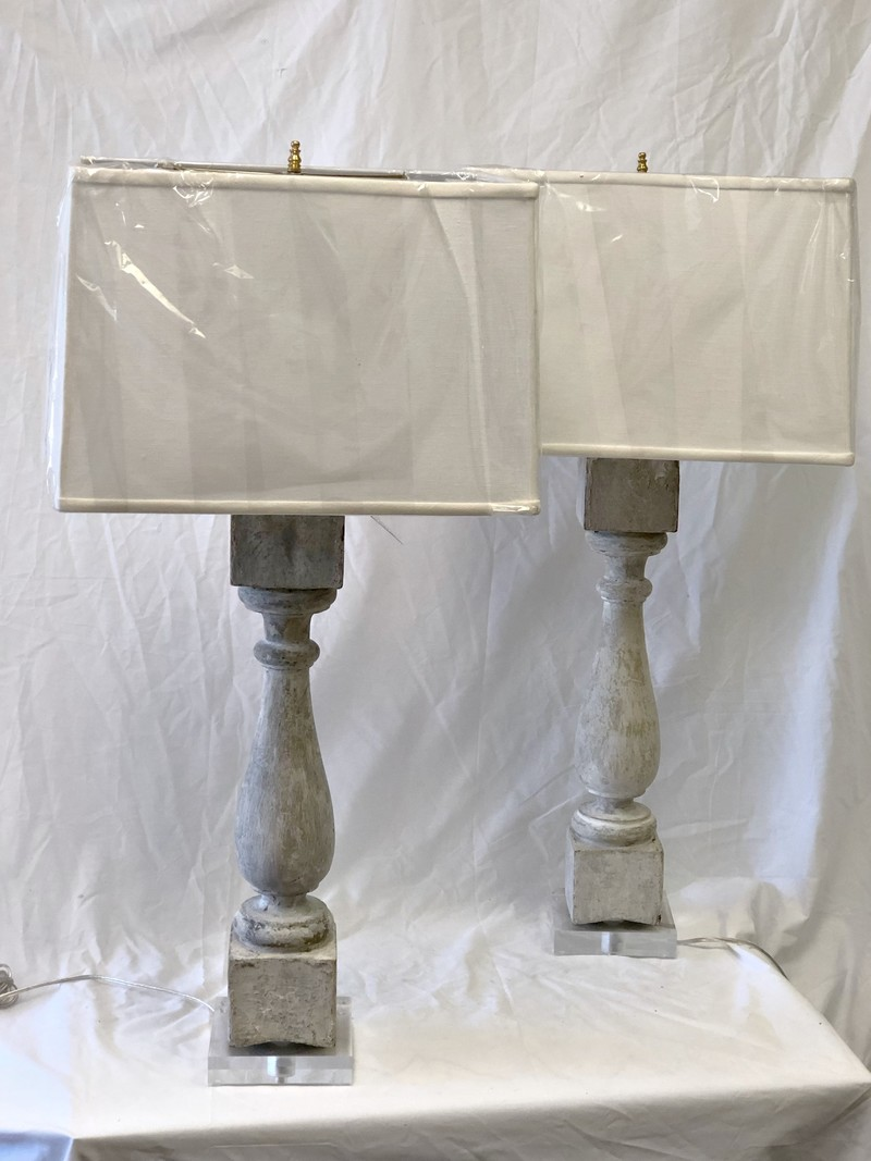 White Painted Baluster Lamps