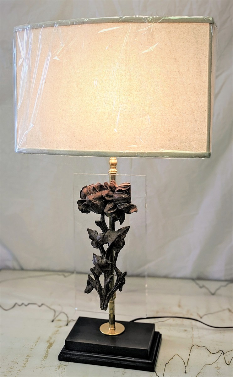 Acrylic Backed Carved Flower Wood Lamp