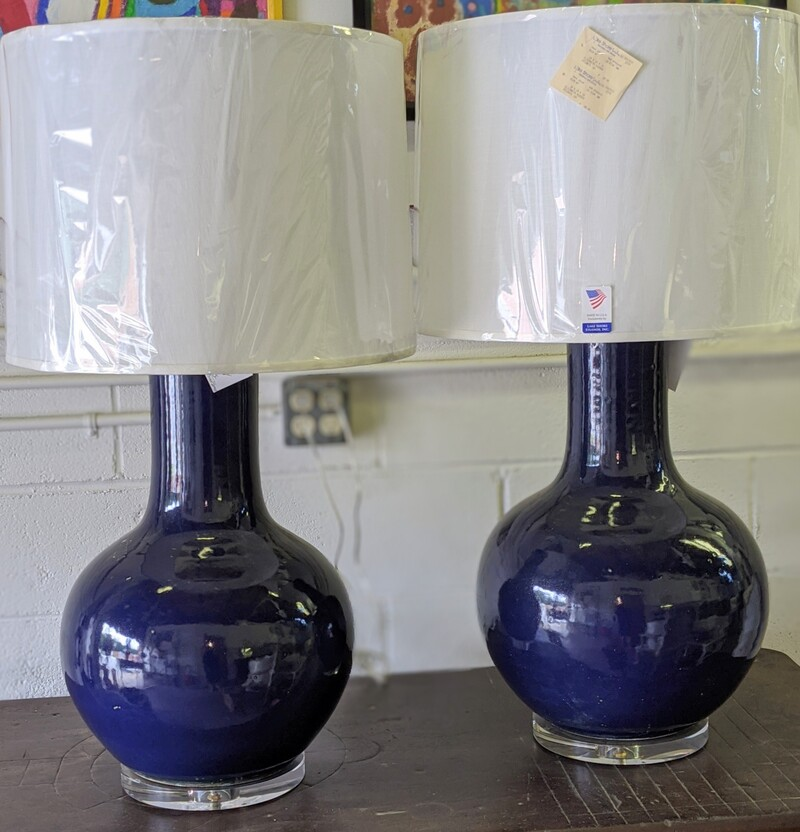 Large Blue Pottery  Lamps
