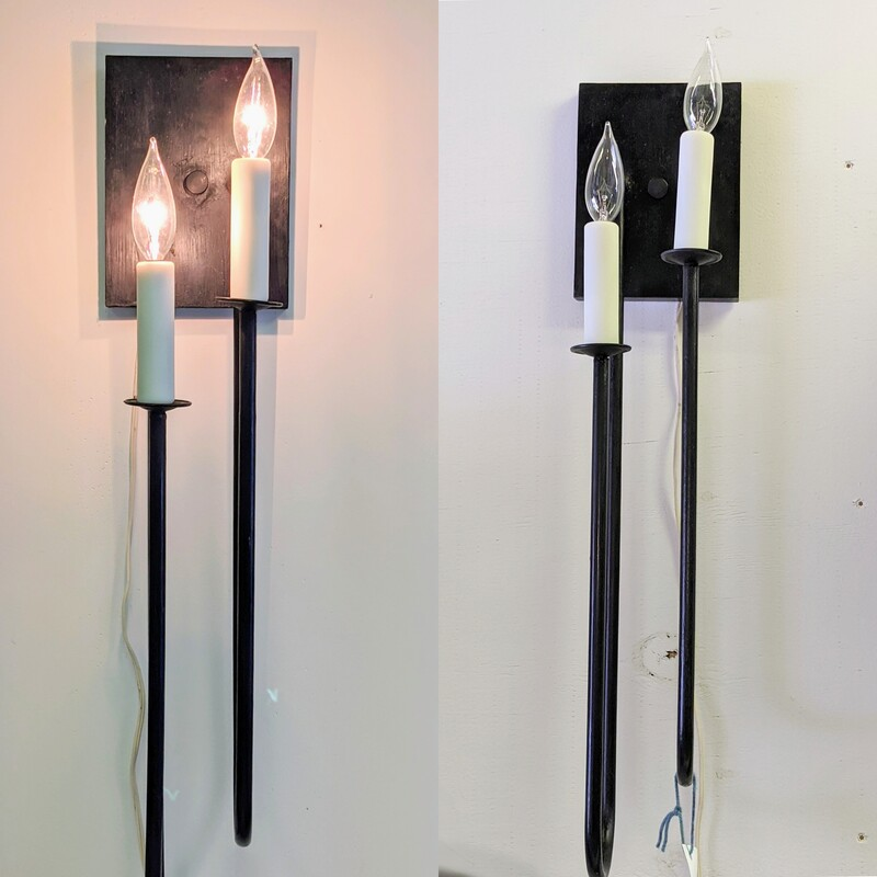 Pair of Black Metal Sconces